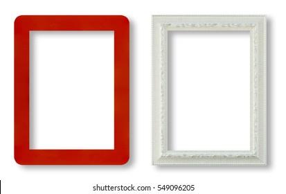 red frame and white frame on white background.