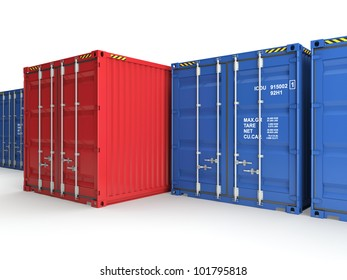 Red freight container on a background blue containers