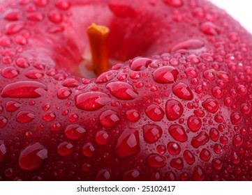 Red fresh apple  with drops of water