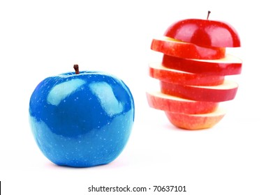 red fresh apple on a white background