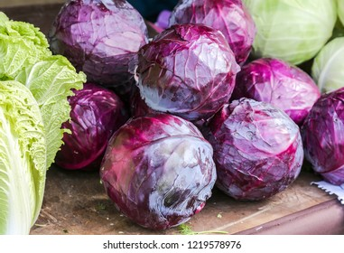 Red fresh cabbage of new harvest ready to sale at the farmers market