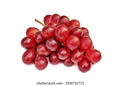 Red fresh grapes red grapes display on white background