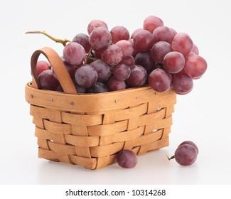 red fresh organic grape basket pottle isolated