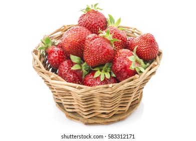 Red fresh strawberry in a bowl on white background