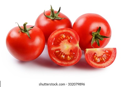 Red fresh tomatoes isolated on white background