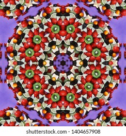 Red and freshness fruits in mandala