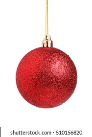 A red frosty Christmas ornament isolated on white background