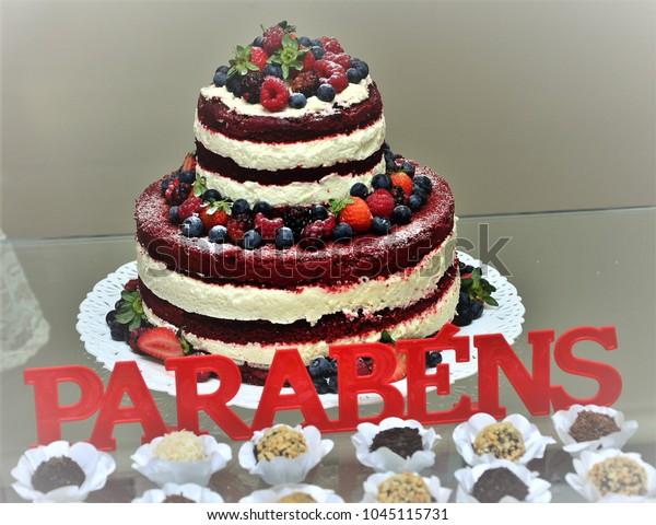 Strange Red Fruit Birthday Cake Cheese Cake Stock Photo Edit Now 1045115731 Funny Birthday Cards Online Amentibdeldamsfinfo