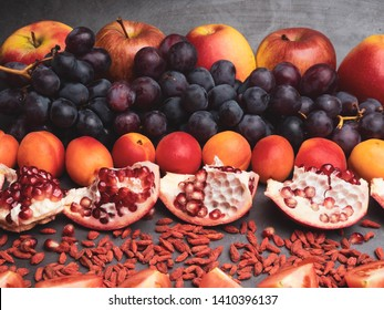 red fruits and berrys rich vitamin, resveratrol, astaxanthin antioxidants food, close up