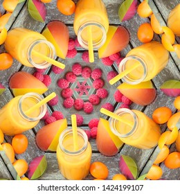 Red fruits and citrus juice in mandala