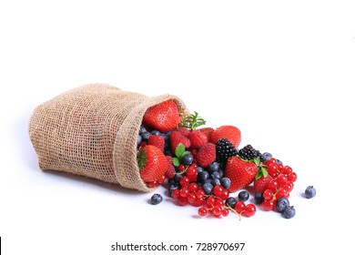 Red fruits isolated