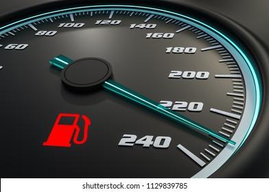 Red fuel level light on car dashboard. 3D rendered illustration.