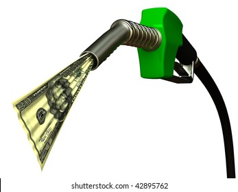 Red fuel nozzle with 20 dollars on white background