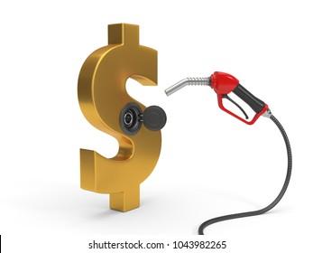 red fuel nozzle fueling up a dollar symbol. 3d illustration