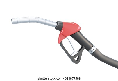 Red fuel pump nozzle isolated on white background. 3d illustration.