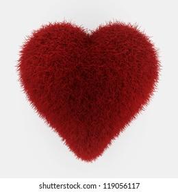 red fur heart - 3d render on white