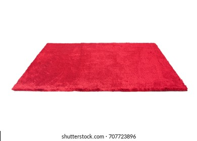 Red furry carpet. Isolated on white