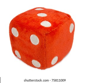 Red fuzzy dice isolated on white. Clipping path included.