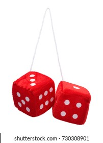 Red Fuzzy Hanging Dice Isolated on White Background.
