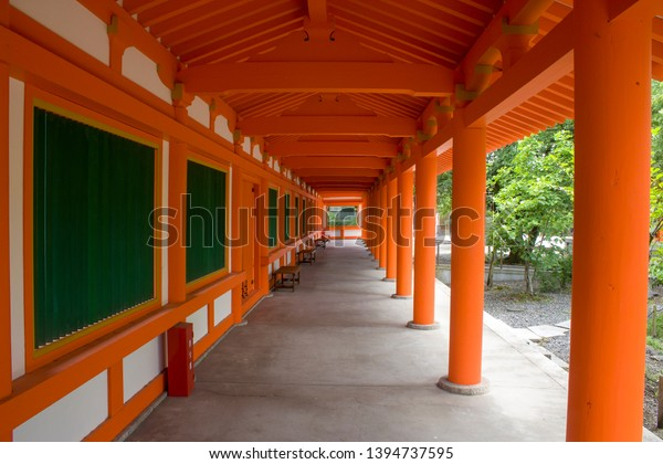 the red gallery of thirty-three ken hall. thirty-three ken hall (Sanjusangen-do) is a Buddhist temple of the Tendai sect in Kyoto, Japan. The text in Japanese: fire extinguisher