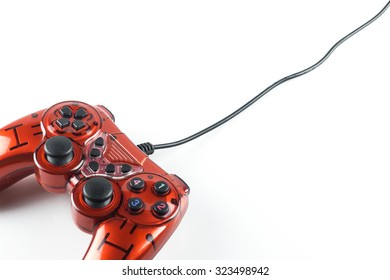 Red game controller isolated with white background