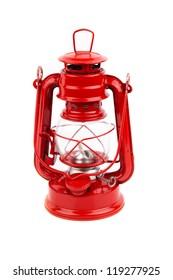 red garden lamp