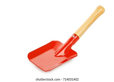 red gardening shovel isolated on white
