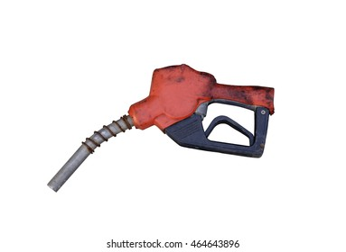 Red gas pump isolated on white background with clipping path