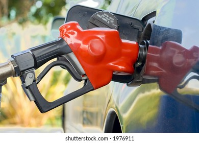Red gas pump nozzle
