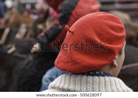 1d273dfd2bb98 Red Gaucho Beret Boina Argentina Stock Photo (Edit Now) 500628097 ...