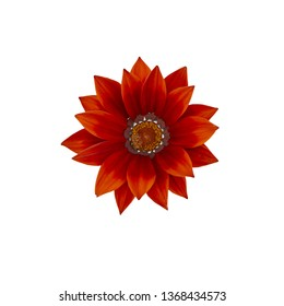 Red gazania flower centered with many petals from above isolated on white