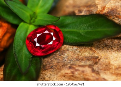 Red gemstone Beauty shot Close-up Background Texture