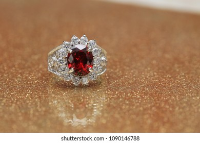 red gemstone on diamond ring , Ruby gem