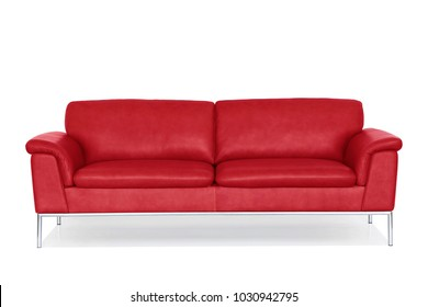 Red genuine leather sofa with metal tube legs, isolated on white.