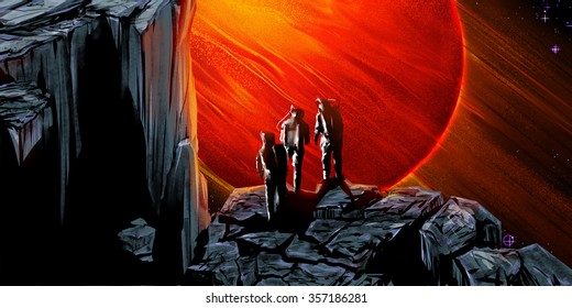 Red giant planet. Sci-fi digital illustration of some astronauts, their silhouettes are against the backdrop of a large planet.
