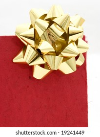 Red gift bag on a white background