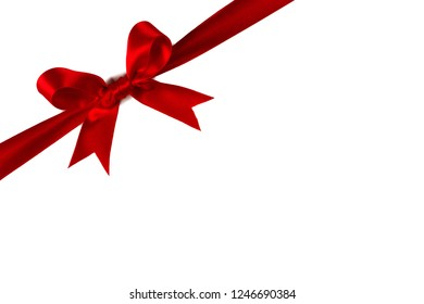 Red gift bow isolated on white background
