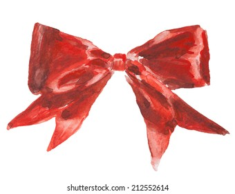 red gift bow, watercolor illustration