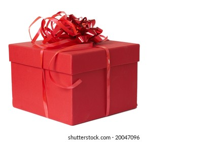 Red gift box with bow isolated on white background with copy space