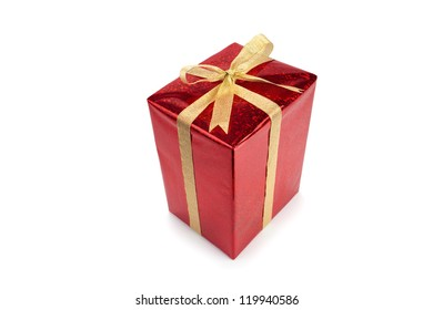 Red gift box with bow and ribbon on white background