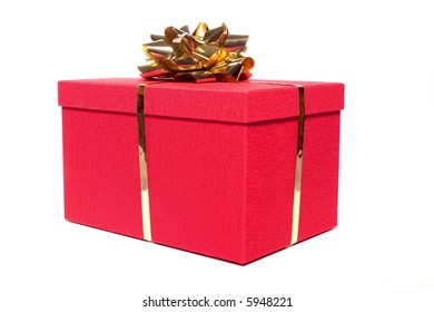 red gift box with a gold bow on white