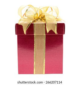 Red gift box with gold ribbon isolated on white