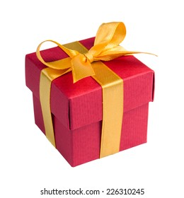red gift box with golden ribbon and bow isolated on white, clipping path