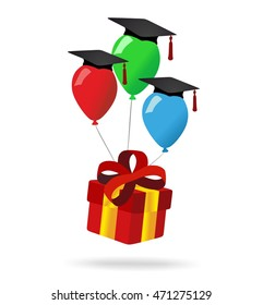 red gift box and graduation balloons