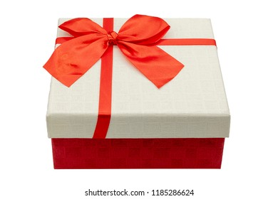 Red gift box isolated on white background with clipping path.