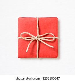 Red gift box isolated on white background