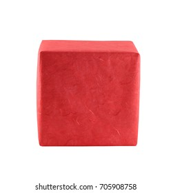 Red gift box isolated on white background and have clipping paths.