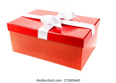 red Gift box isolated with white ribbon