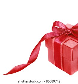 Red gift box on white  background with copy space