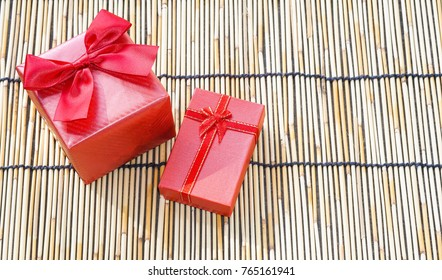 Red gift box is perfect for celebrating Christmas.